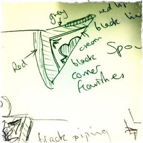 Sketch of the design for the spout...