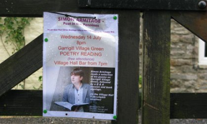 A flyer advertising Simon's poetry readings at Garrigill