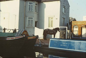 Bittell moored outside Charlie Atkins Jr Cottage at the top of Farmers Bridge locks, Birmingham. ( Colin Scivener photo) Circa 1970's
