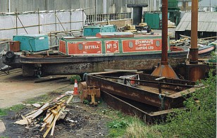 Bittell awaiting repairs at British Waterways, Bradley Workshops. April 1998.