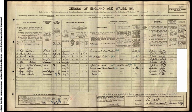 Eli Aston 1911 census