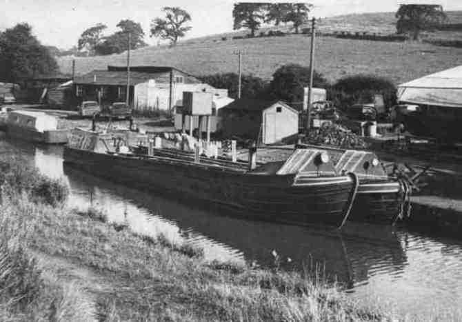 Ex-working narrowboats moored at Beeston Wharf in 1969