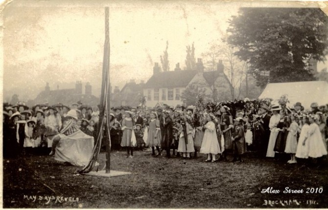1911 The Brockham May Day revelers and Hobby Horse_697x448