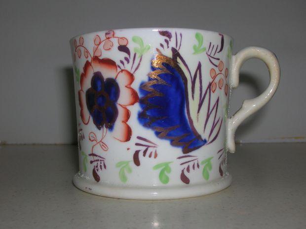Victorian Gaudy Welsh porcelain _leaf_ mug 6cm __35